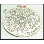 1x Hill Tribe Silver Karen Engrave Pendant Jewelry Supplies [KC024]