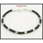 Waxed Cotton Cord Hill Tribe Silver Bracelet Handcrafted Bead [KH161]
