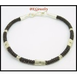 Handmade Bracelet Waxed Cotton Cord Hill Tribe Silver Bead [KH151]