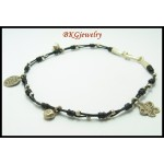 Waxed Cotton Cord Jewelry Weaving Hill Tribe Silver Anklet [KH086]