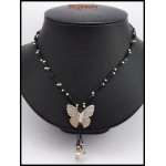 Hill Tribe Silver Butterfly Waxed Cotton Cord Handmade Necklace [KH127]