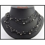 Hill Tribe Silver Bead Necklace Handcrafted Waxed Cotton Cord [KH130]