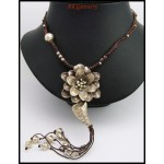 Hill Tribe Silver Flower Necklace Handcrafted Waxed Cotton Cord [KH123]