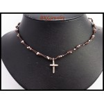 Hill Tribe Silver Cross Charm Waxed Cotton Cord Necklace [KH133]