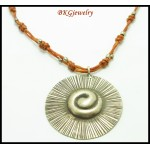 Weaving Waxed Cotton Cord Necklace Hill Tribe Silver Pendant [KH113]