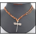 Hill Tribe Silver Dragonfly Waxed Cotton Cord Necklace [KH172]