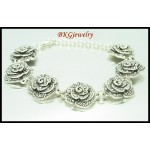 Marcasite Jewelry Electroform Rose Bracelet 925 Sterling Silver [MB042]