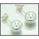 8MM. Ball Earrings Sterling Silver Electroforming Fashion [ME104]