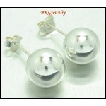 10MM. Ball Earrings Sterling Silver Electroforming Fashion [ME105]