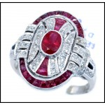 18K White Gold Natural Oval Ruby and Diamond Antique Ring Style [RA0006]