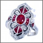 18K White Gold Diamond Accents and Ruby Vintage Ring Style [RA0009]