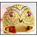 Gorgeous Owl Solid 18K Yellow Gold with Ruby and Diamond Ring [RF0030]