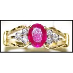 18K Yellow Gold Solitaire Exclusive Ring Diamond Ruby [RS0135]