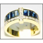 18K Yellow Gold Baguette Blue Sapphire Cross Diamond Ring [RQ0040]