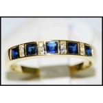 Diamond Natural Blue Sapphire 18K Yellow Gold Band Ring [R0026]