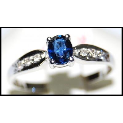 solitaire 18k white gold unique blue sapphire ring