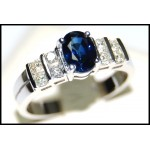 Stunning Diamond Solitaire Blue Sapphire Ring 18K White Gold [RS0075]