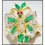 Exclusive Diamond 18K Yellow Gold Emerald Butterfly Ring [R0117]