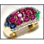 Diamond Jewelry Stunning 18K Yellow Gold Multi Gemstone Ring [R0016]