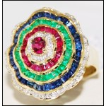 18K Yellow Gold Natural Diamond Multi Gemstone Cocktail Ring [R0059]