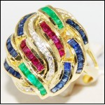 Exclusive Cocktail Diamond 18K Yellow Gold Multi Gemstone Ring [R0060]