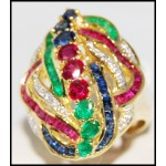 18K Yellow Gold Cocktail Stunning Diamond Multi Gemstone Ring [R0063]