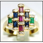 18K Yellow Gold Cocktail Exclusive Diamond Multi Gemstone Ring [RF0011]