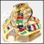 Exclusive 18K Yellow Gold Diamond Multi Gemstone Snake Ring [R0002]