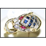 18K Yellow Gold Diamond Cocktail Multi Gemstone Tiger Ring [RF0005]