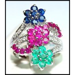 Exclusive 18K White Gold Diamond Multi Gemstone Flower Ring [R0002]