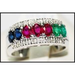 Multi Gemstone Jewelry Gorgeous 18K White Gold Diamond Ring [R0127]
