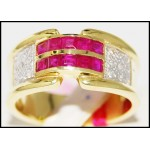 Diamond Gorgeous Gemstone 14K Yellow Gold Ruby Ring [RR032]
