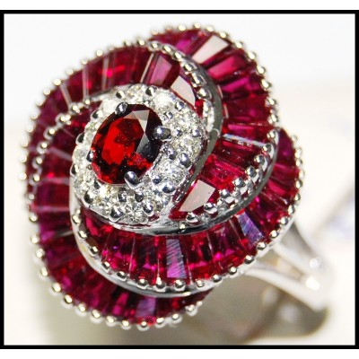 Unique 18K White Gold Eternity Ruby Diamond Cocktail Ring [RB0001]