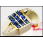 14K Yellow Gold Gemstone Diamond Gorgeous Blue Sapphire Ring [RR015]