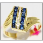 14K Yellow Gold Gorgeous Diamond Gemstone Blue Sapphire Ring [RR018]