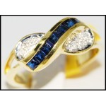 Diamond Estate Blue Sapphire Gemstone 14K Yellow Gold Ring [RR020]