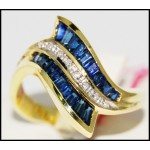 Stunning 14K Yellow Gold Diamond Gemstone Blue Sapphire Ring [RR023]