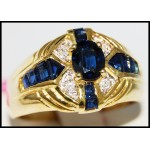 Blue Sapphire Stunning Gemstone Diamond Ring 14K Yellow Gold [RR076]