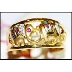 Diamond Exclusive 14K Yellow Gold Multi Gemstone Elephant Ring [RR001]