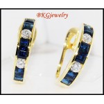 Clip-On Diamond Estate Blue Sapphire Earrings 18K White Gold [E0001]