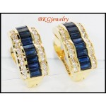 Stunning Diamond Blue Sapphire Earrings 18K Yellow Gold [E0007]