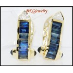 Diamond 18K Yellow Gold Genuine Blue Sapphire Earrings [E0014]