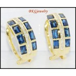 Genuine Diamond Blue Sapphire Earrings 18K Yellow Gold [E0016]