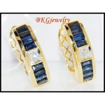 Diamond Blue Sapphire Exclusive 18K Yellow Gold Earrings [E0020]