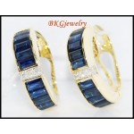 18K Yellow Gold Natural Diamond Blue Sapphire Earrings [E0021]