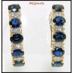 Diamond 18K Yellow Gold Genuine Blue Sapphire Earrings [E0078]