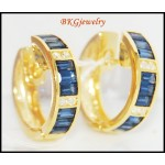 18K Yellow Gold Natural Diamond Blue Sapphire Earrings [EL0010]