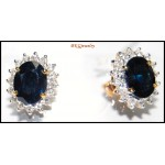 Natural Diamond 18K Yellow Gold Blue Sapphire Earrings [E0092]
