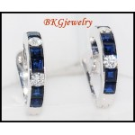 Blue Sapphire Jewelry Diamond Earrings 18K White Gold [E0002]
