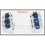 Eternity Diamond 18K White Gold Blue Sapphire Earrings [E0006]